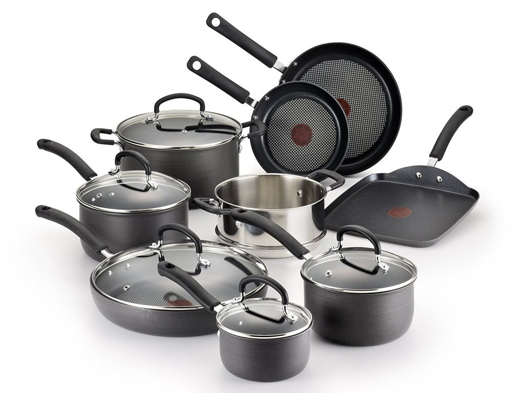 T-fal 14 Piece Anodized Scratch Resistant Titanium Nonstick Thermo-Spot Cookware