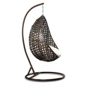 Outdoor Hanging Egg Chair with Cushion Side View