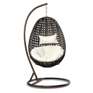 Outdoor Wicker Hanging Egg Chair with Pillow & Cushion
