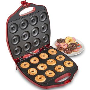 VonShef 12 Mini Donut Electric Maker Displaying Cooked Donuts