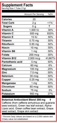 Zipfizz Supplement Facts