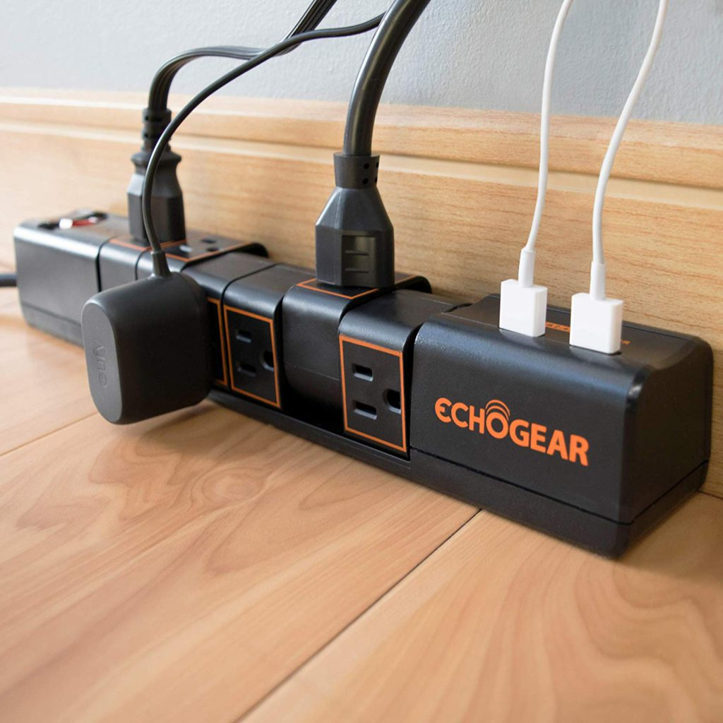 Echogear Rotating Surge Protector 6 AC Outlets 2 USB Ports