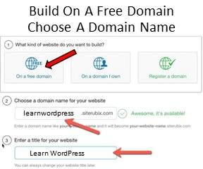 Website Builder Step 1 Builds a Free Website