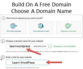Step 2 Create A Website By Choosing A Free Website Build And Domain Name