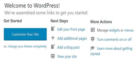 Step 5 Website Builder Provides WordPress. Here Is The WordPress Dashboard For Next Steps