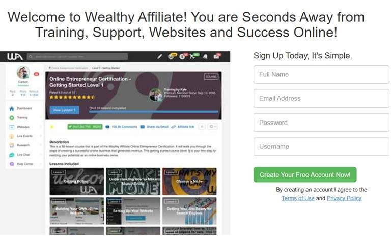 The Wealthy Affiliate Member Login Screen