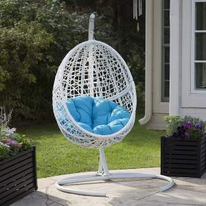 Wicker Hanging Egg Chairs - Belham Living Egg Chair White r
