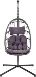 Wicker Hanging Egg Chairs - YeSea Egg Chair Dark Grey r
