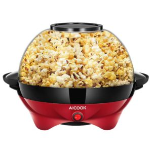 AICOOK Electric Popcorn Popper Red