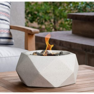 Terra Flame Tabletop Fire Bowl White