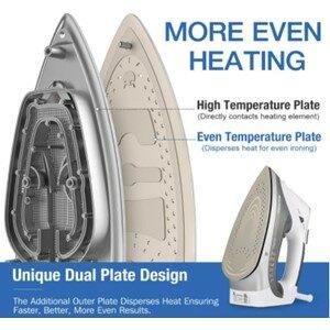 BEAUTURAL 1800W Steam Iron Dual Plate Design