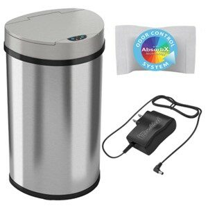 iTouchless 13 Gallon Semi-Round wAdapter Trash Can