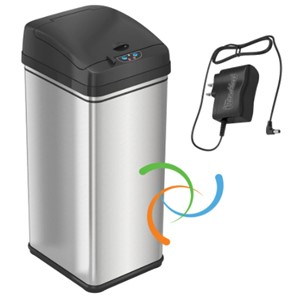 iTouchless 13 Gallon w/Adapter Trash Can